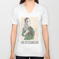 russian V-neck T-shirts featuring Russian Revolution by Sara Elan Donati