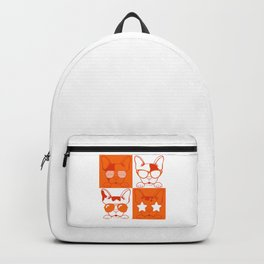 Frenchies with Glasses Orange Backpack