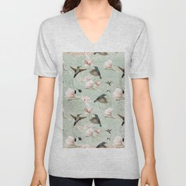 Vintage Watercolor hummingbird and Magnolia Flowers on mint Background Unisex V-Neck