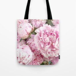 Pink Shabby Chic Peonies - Garden Peony Flowers Wall Prints Home Decor Tote Bag
