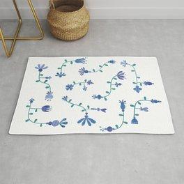 Blue folk-art florals Rug