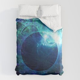 Abstract colorful shiny print graphic with planet space Comforters