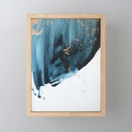 A Minimal Sapphire and Gold Abstract piece in blue white and gold by Alyssa Hamilton Art  Framed Mini Art Print