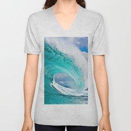 Wave Series Photograph No. 28 - Ocean Blue Unisex V-Neck