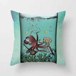 Musical Octopus Print Throw Pillow
