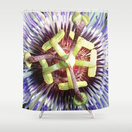 Close Up of The Centre Of a Passiflora Flower Shower Curtain