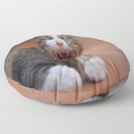 Liza the cat with a big smile Floor Pillow