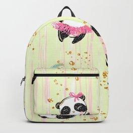 Cute Panda With Gold Glitter Backpack