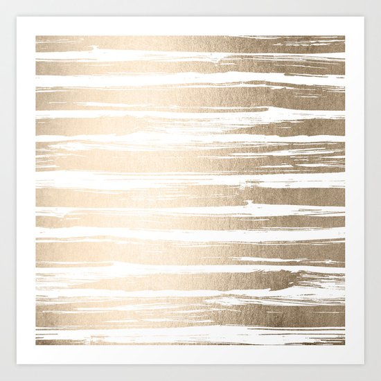 White Gold Sands Painted Stripes Art Print