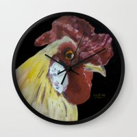 chicken Wall Clocks featuring Chicken by When Ed jogs
