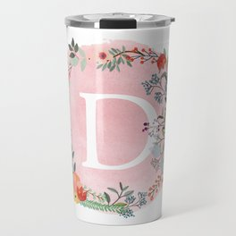 Flower Wreath with Personalized Monogram Initial Letter D on Pink Watercolor Paper Texture Artwork Travel Mug