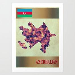 Azerbaijan Map with Flag Art Print