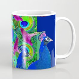 BLUE PEACOCKS & PURPLE MORNING GLORIES Coffee Mug