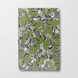 woodland fox party green Metal Print