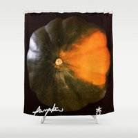 pumpkin Shower Curtains featuring Pumpkin Pumpkin Pumpkin by ANoelleJay