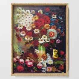 Red Poppies, Dahlias, Daises, Begonia, Parrot Tulips in Vase Tuscany Still Life by Vincent van Gogh Serving Tray