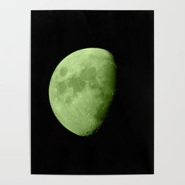 4K Dark Side of the Moon Lime Green Poster