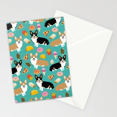 Welsh Corgi junk food fast food tacos french fries pizza burrito ice cream donuts Stationery Cards