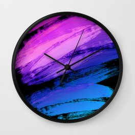 Hot Pink to Sky Blue Abstract Brushstrokes Wall Clock