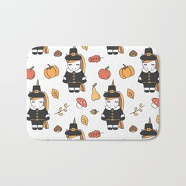 cartoon thanksgiving pattern with pilgrim unicorns, pumpkins, apples, pears, leaves and acorns Bath Mat