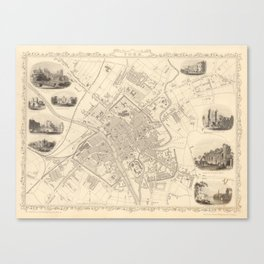 Vintage Map of York England (1851) Canvas Print
