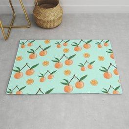 Fruity Oranges Pattern in Mint Green Rug