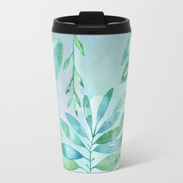Green Leaves on Watercolor Travel Mug