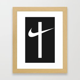 Swoosh Cross (... And Deliver Us From Evil) / White Framed Art Print