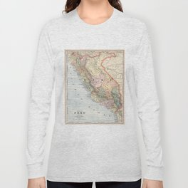 Vintage Map of Peru (1901) Long Sleeve T-shirt