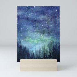 Watercolor Galaxy Nebula Northern Lights Painting Mini Art Print