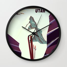 Solitude Mountain Utah Ski vacation poster. Wall Clock