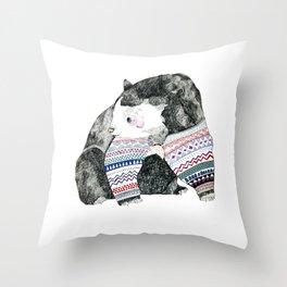 Knitted Bear Throw Pillow