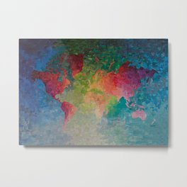 Recycled Color World Map Metal Print