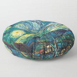 Tardis Art Starry Painting Night Floor Pillow