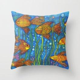 Somethin' Fishy Going on Throw Pillow