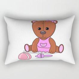 Teddy bear in a pink dress with a ball and maracas. Teddy bear girl. Rectangular Pillow
