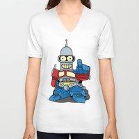 bender V-neck T-shirts featuring Optimus Bender by darko888