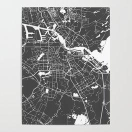 Amsterdam Gray on White Street Map Poster