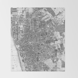 Vintage Map of Liverpool England (1890) BW Throw Blanket