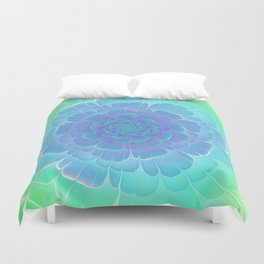 Romantic blue and green flower, digital abstracts Duvet Cover