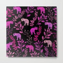 Watercolor Flowers & Elephants III Metal Print