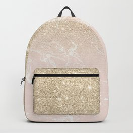 Modern champagne glitter ombre blush pink marble pattern Backpack