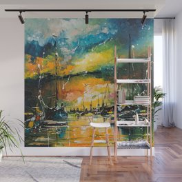 Harbor in sunset Wall Mural