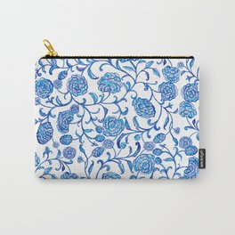 Blue Flowers on White by Fanitsa Petrou Carry-All Pouch