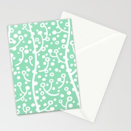 Mid Century Modern Spring Blossoms Mint Green Stationery Cards