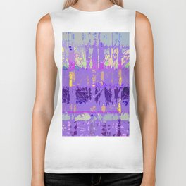Abstract Forest Trees in Lavender and Lilac Biker Tank