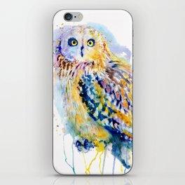Short Eared Owl Watercolor painting iPhone Skin