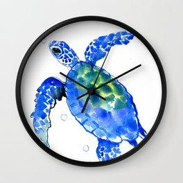 Blue Sea Turtle Wall Clock