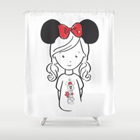 minnie Shower Curtains featuring Minnie 1 by Little Moon Dance