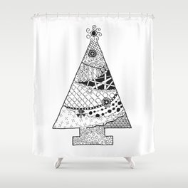Doodle Christmas Tree Shower Curtain